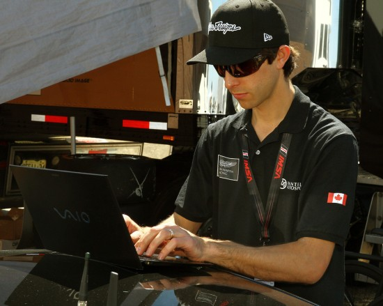 Team manager/engineer Andrew Wojteczko offloads the data for analysis.